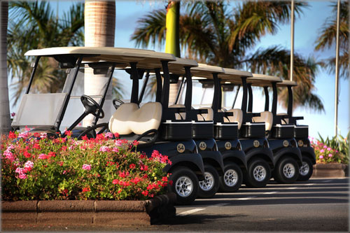 Golf cars at the Meloneras golf course