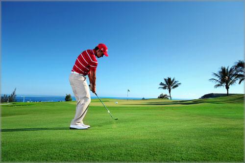 Rafael Cabrera in action at the Meloneras golf course in Gran Canaria